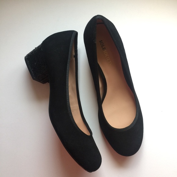 Sole Society Shoes - Sole Society Velvet Round Toe Sequin Block Heels